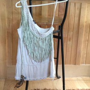 Dolce & Gabbana 1 shoulder blouse w/ swede fringe